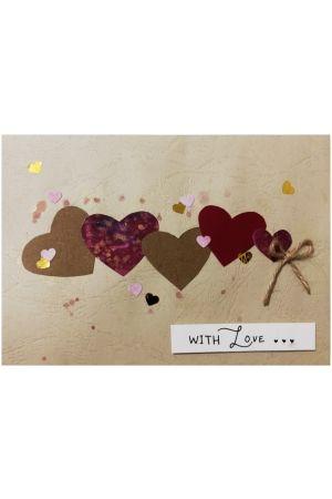 Handmade card - Four Hearts